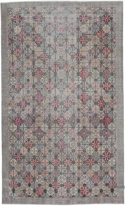 """Retro Vintage Turkish Hand-Knotted Rug - 5' 5"""" x 8' 11"""" (65 in. x 107 in.)"""