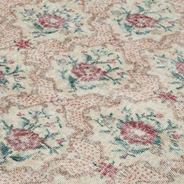 """Retro Vintage Turkish Hand-Knotted Rug - 6'  x 10' 1"""" (72 in. x 121 in.) - K0038392"""