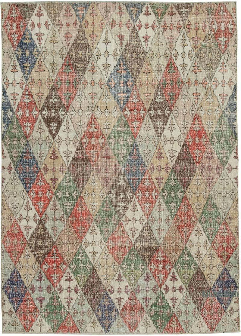 """Retro Vintage Turkish Hand-Knotted Rug - 5' 8"""" x 8'  (68 in. x 96 in.) - K0038395"""