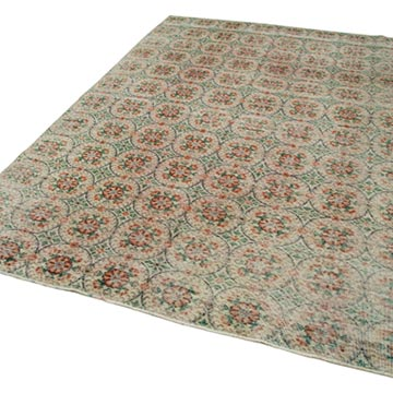 """Retro Vintage Turkish Hand-Knotted Rug - 6' 5"""" x 9' 5"""" (77 in. x 113 in.) - K0038402"""