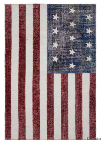 "Patchwork US Flag Rug - 6' 7"" x 9' 10"" (79 in. x 118 in.)"