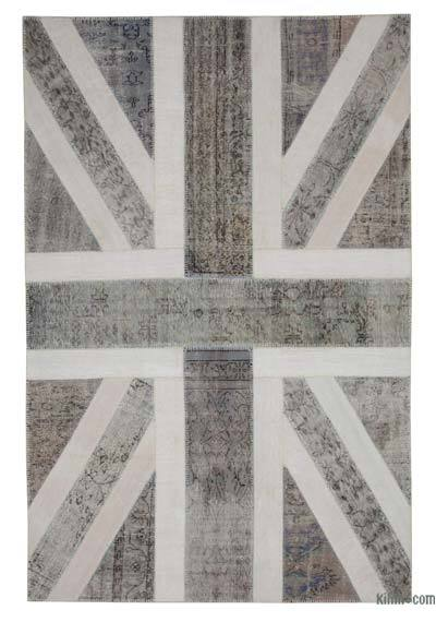 "Patchwork British Flag Rug - 6' 7"" x 10'  (79 in. x 120 in.)"