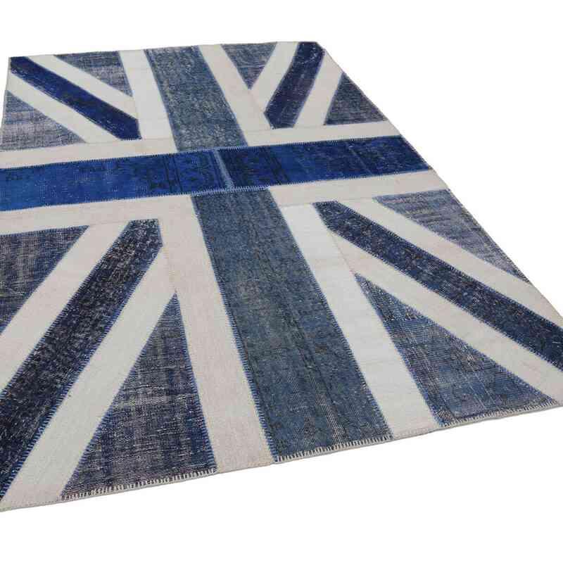 Mavi, Bej İngiltere Bayraklı Patchwork Halı - 200 cm x 303 cm - K0038418