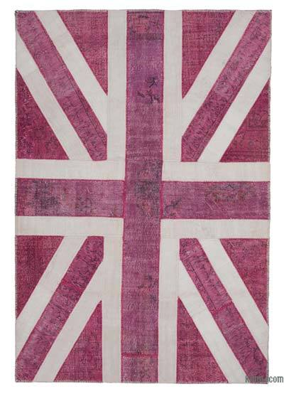 "Patchwork British Flag Rug - 6' 10"" x 10'  (82 in. x 120 in.)"