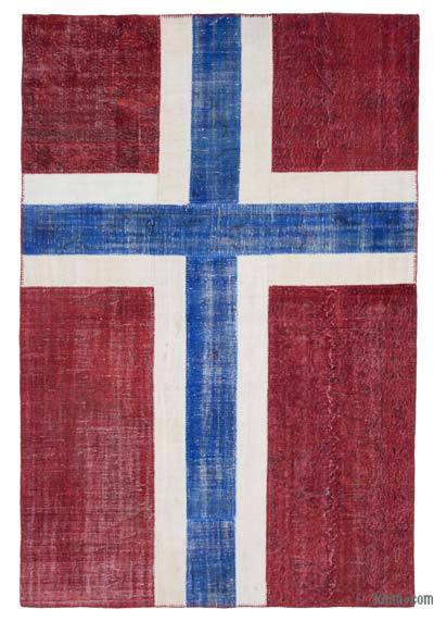 "Patchwork Norwegian Flag Rug - 6'6"" x 9'10"" (78 in. x 118 in.)"