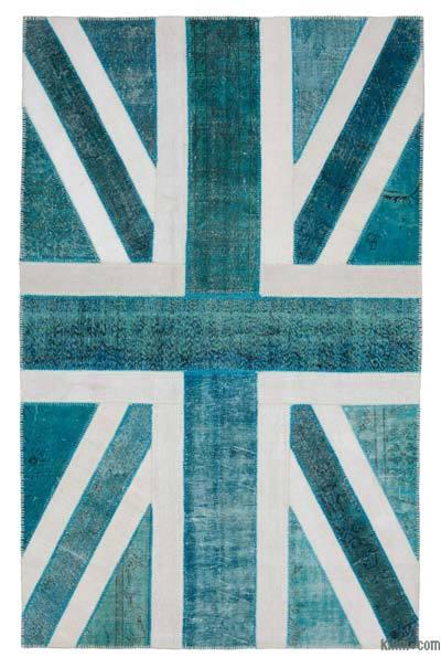 Çok Renkli İngiltere Bayraklı Patchwork Halı - 193 cm x 304 cm