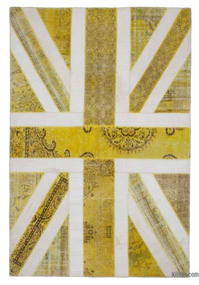 "Patchwork British Flag Rug - 6' 9"" x 10'  (81 in. x 120 in.)"