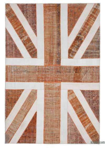 Turuncu İngiltere Bayraklı Patchwork Halı - 204 cm x 302 cm