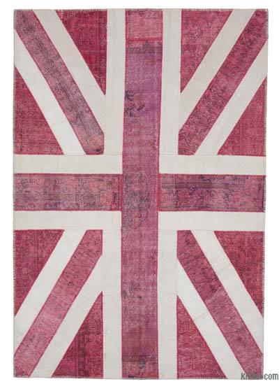 İngiltere Bayraklı Patchwork Halı - 205 cm x 302 cm