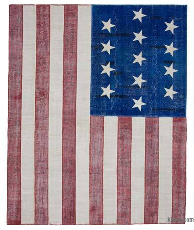 "Patchwork US Flag Rug - 8' x 9'10"" (96 in. x 118 in.)"