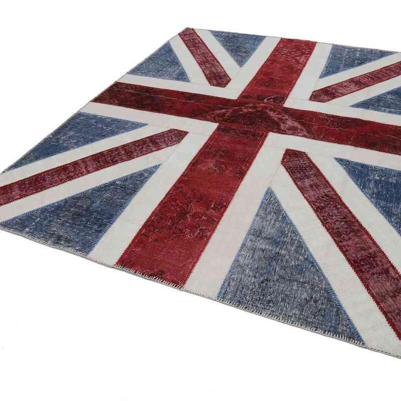 Lacivert, Kırmızı İngiltere Bayraklı Patchwork Halı - 246 cm x 305 cm - K0038465