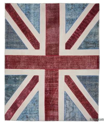 "Patchwork British Flag Rug - 8' 1"" x 10' 1"" (97 in. x 121 in.)"