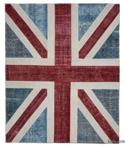 "Patchwork British Flag Rug - 8' 2"" x 10' 2"" (98 in. x 122 in.)"