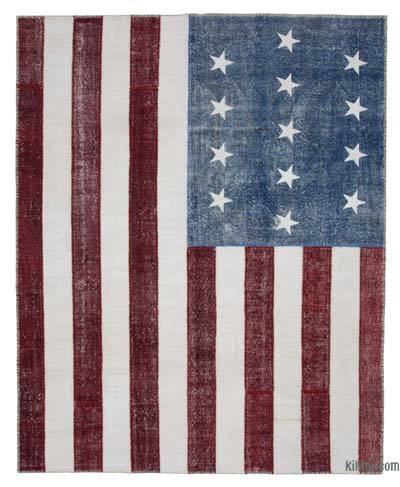 Patchwork US Flag Rug - 8'  x 10'  (96 in. x 120 in.)