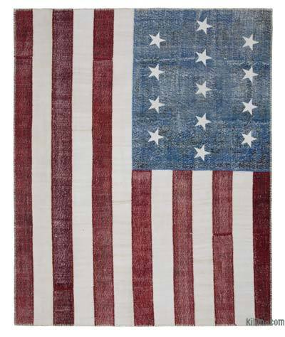 "Patchwork US Flag Rug - 8'  x 9' 10"" (96 in. x 118 in.)"