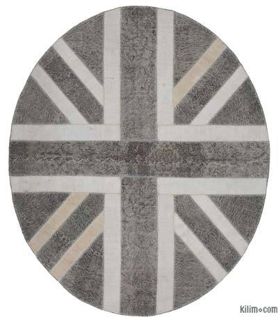 "Patchwork British Flag Rug - 7'  x 8' 4"" (84 in. x 100 in.)"