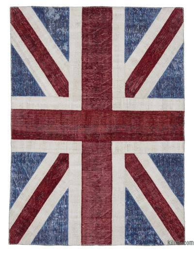 "Patchwork British Flag Rug - 5'8"" x 7'10"" (68 in. x 94 in.)"