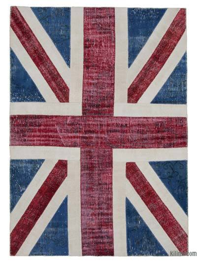 "Patchwork British Flag Rug - 5' 8"" x 8'  (68 in. x 96 in.)"