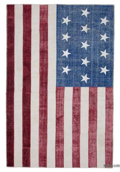 "Patchwork US Flag Rug - 6' 5"" x 9' 10"" (77 in. x 118 in.)"