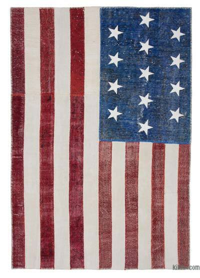 "Patchwork US Flag Rug - 6' 1"" x 9'  (73 in. x 108 in.)"