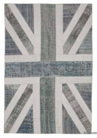 "Patchwork British Flag Rug - 6' 7"" x 9' 10"" (79 in. x 118 in.)"