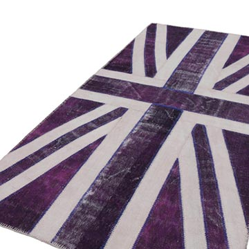 """Purple Patchwork Hand-Knotted Turkish Rug - 5'  x 9' 11"""" (60 in. x 119 in.) - K0038517"""