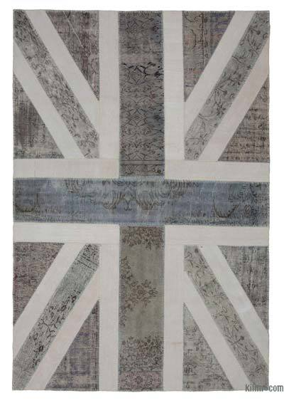 "Patchwork British Flag Rug - 6' 8"" x 9' 11"" (80 in. x 119 in.)"