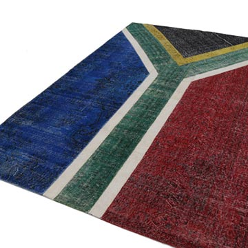 """Multicolor Patchwork Hand-Knotted Turkish Rug - 6' 7"""" x 9' 9"""" (79 in. x 117 in.) - K0038522"""