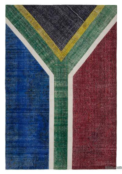 "Patchwork South Africa Flag Rug - 6'7"" x 9'9"" (79 in. x 117 in.)"