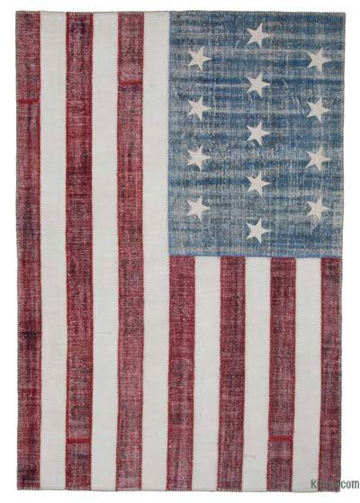 "Patchwork US Flag Rug - 6'8"" x 9'11"" (80 in. x 119 in.)"