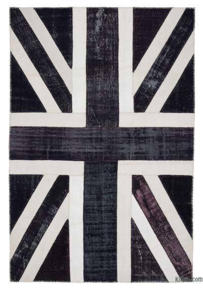 "Patchwork British Flag Rug - 6'8"" x 9'10"" (80 in. x 118 in.)"