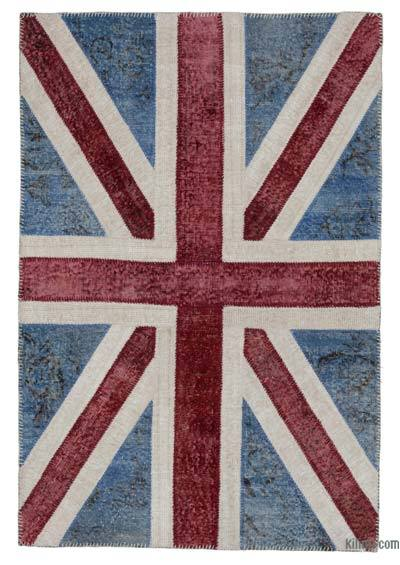 "Patchwork British Flag Rug - 4' 1"" x 6'  (49 in. x 72 in.)"
