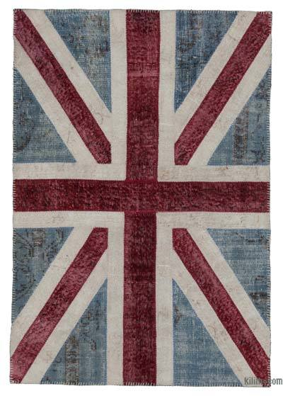 "Patchwork British Flag Rug - 4'  x 5' 11"" (48 in. x 71 in.)"