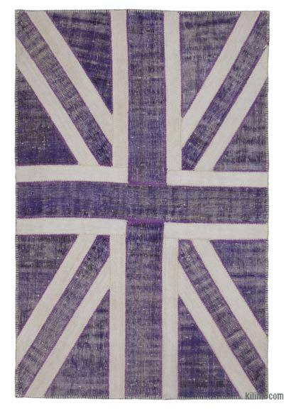 "Patchwork British Flag Rug - 4' 6"" x 7'  (54 in. x 84 in.)"