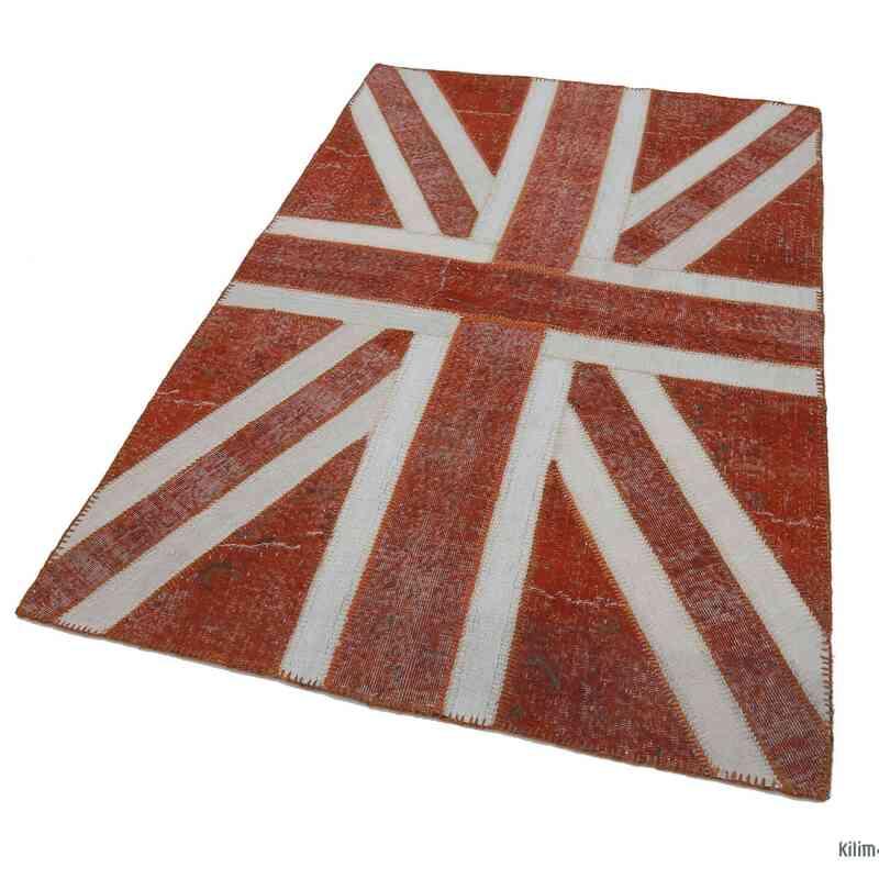 Turuncu İngiltere Bayraklı Patchwork Halı - 140 cm x 215 cm - K0038546