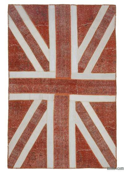 """Patchwork Hand-Knotted Turkish Rug - 4' 7"""" x 7' 1"""" (55 in. x 85 in.)"""