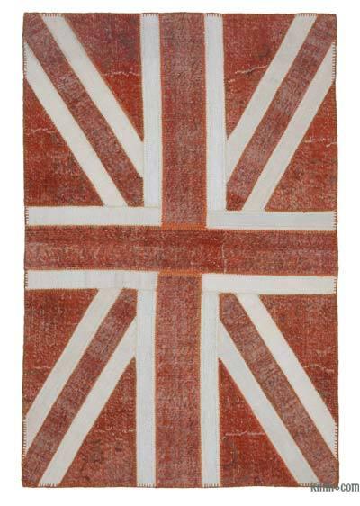 İngiltere Bayraklı Patchwork Halı - 140 cm x 215 cm