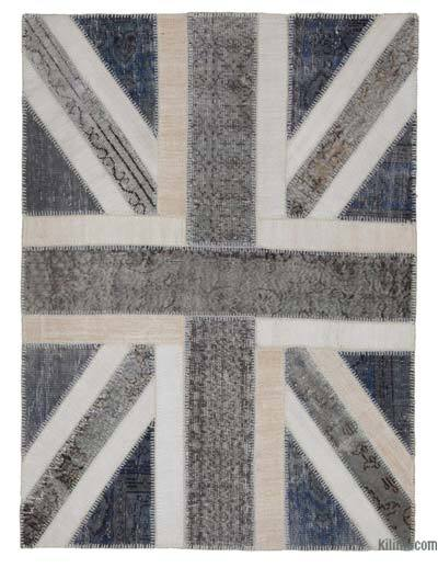 "Patchwork British Flag Rug - 4'8"" x 6'5"" (56 in. x 77 in.)"