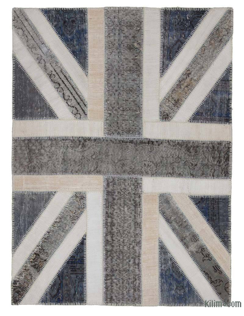"""Grey Patchwork Hand-Knotted Turkish Rug - 4' 8"""" x 6' 5"""" (56 in. x 77 in.) - K0038548"""