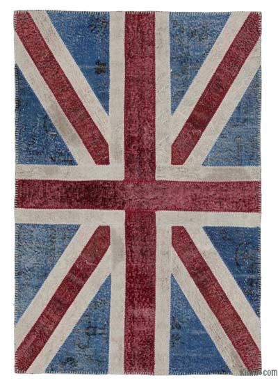 Patchwork British Flag Rug - 4' x 6' (48 in. x 72 in.)