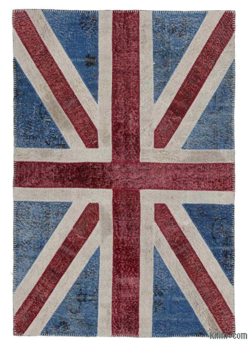 Blue, Red Patchwork Hand-Knotted Turkish Rug - 4'  x 6'  (48 in. x 72 in.) - K0038560
