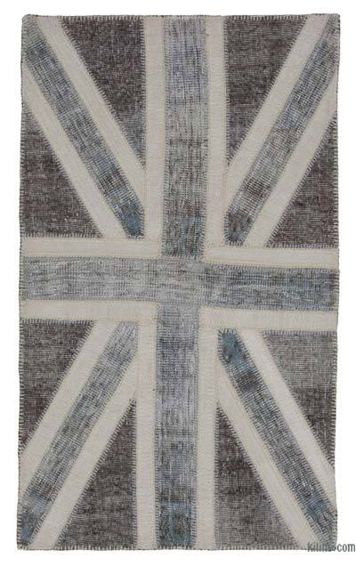 "Patchwork British Flag Rug - 3'1"" x 5'1"" (37 in. x 61 in.)"