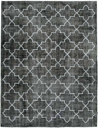 İşlemeli ve Boyalı El Dokuma Vintage Halı - 231 cm x 300 cm