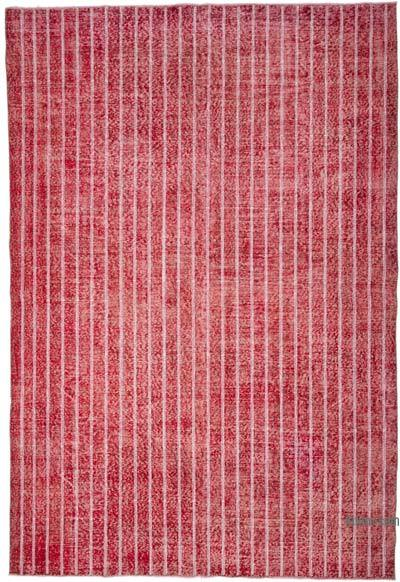 """Embroidered Over-dyed Turkish Vintage Rug - 6' 11"""" x 10' 2"""" (83 in. x 122 in.)"""