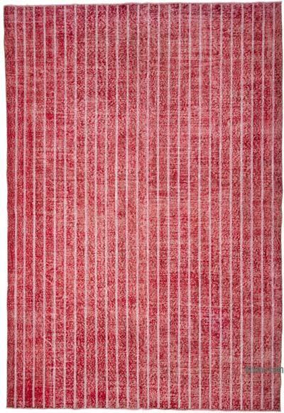 İşlemeli ve Boyalı El Dokuma Vintage Halı - 212 cm x 310 cm
