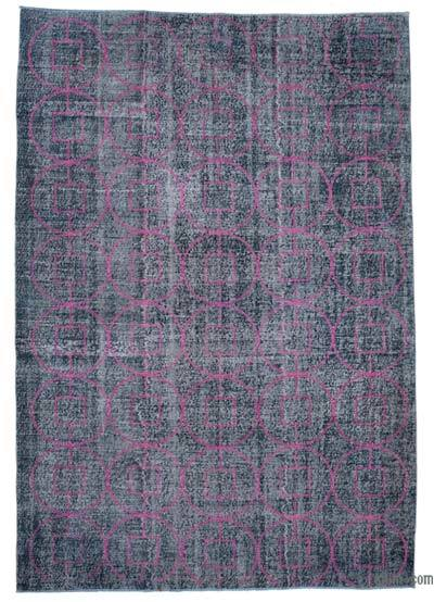 """Embroidered Over-dyed Turkish Vintage Rug - 7' 3"""" x 10' 6"""" (87 in. x 126 in.)"""
