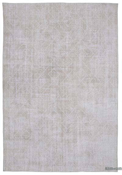 "Embroidered Over-dyed Turkish Vintage Rug - 7'4"" x 10'9"" (88 in. x 129 in.)"