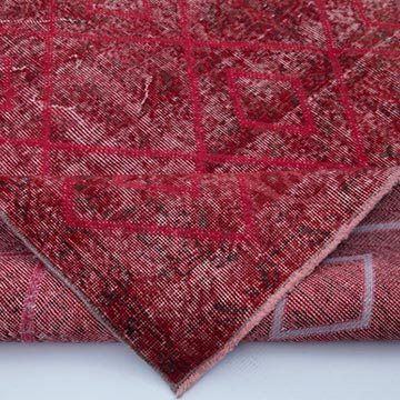 """Red Embroidered Over-dyed Turkish Vintage Rug - 6' 9"""" x 11' 1"""" (81 in. x 133 in.) - K0038596"""