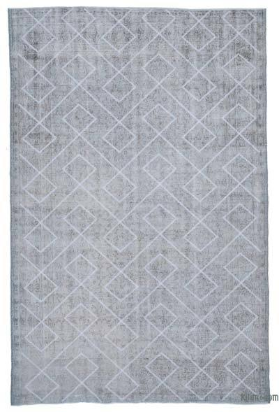 "Grey Embroidered Over-dyed Turkish Vintage Rug - 6' 9"" x 10' 4"" (81 in. x 124 in.)"