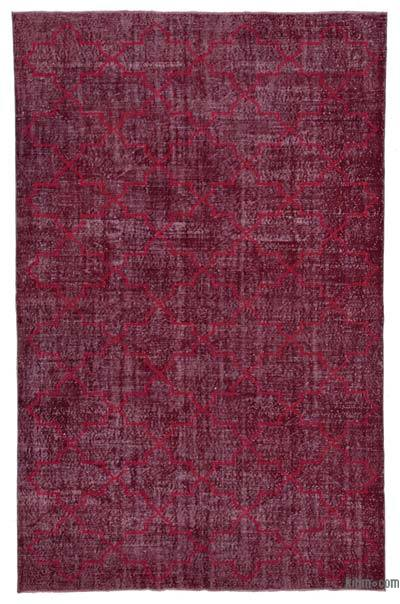 """Red Embroidered Over-dyed Turkish Vintage Rug - 6' 11"""" x 10' 10"""" (83 in. x 130 in.)"""